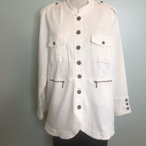 Diane Gilman White Denim Jacket Size XL